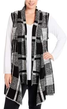Joseph A Plus Size Plaid Sweater Vest