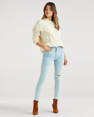 7 For All Mankind Luxe Vintage High Waist Ankle Skinny with Destroy in Snowbird