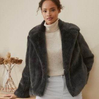 The White Company Short Revere Faux-Fur Coat, Storm Grey, Extra Small