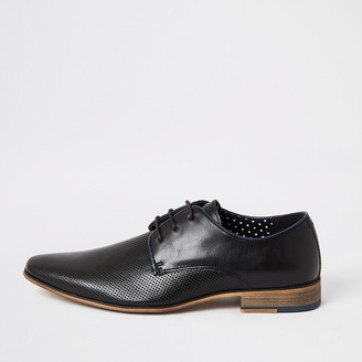 River Island Black textured lace-up derby shoes