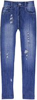 Blue Faded & Distressed Jeggings