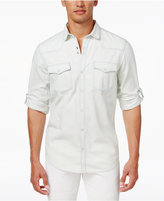 INC International Concepts Men's Snap-Front Roll-Tab Denim Shirt, Created for Macy's