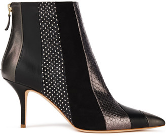 Malone Souliers Amal Polka-dot Elaphe, Metallic Leather And Suede Ankle Boots