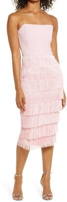 Lavish Alice Bandeau Fringe Midi Dress