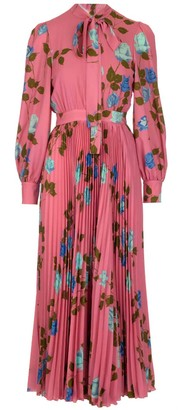 MSGM Pleated Floral Print Maxi Dress