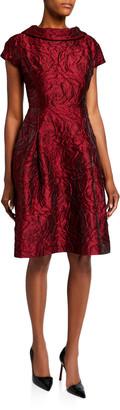 Rickie Freeman For Teri Jon Roll-Neck Cap-Sleeve Textured Tonal Jacquard Dress