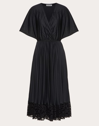Valentino Jersey And Heavy Lace Pleated Dress Women Black Polyester 100% L