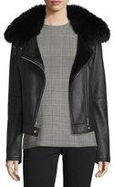 Theory Pomono Merino Silky Leather Shearling-Lined Jacket w/Fox Fur Collar
