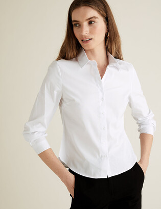 Marks and Spencer PETITE Cotton Fitted Long Sleeve Shirt