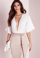 Missguided Kimono Sleeve Bodysuit White