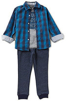 Nautica Little Boys 4-7 Plaid Woven Shirt, Knit Tee & Woven Jogger Pants Set
