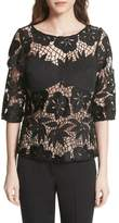 Tracy Reese Mixed Media Lace Top
