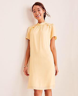 Ann Taylor Petite Lace Trim Shift Dress