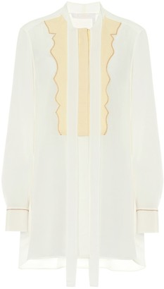Chloé Tie-neck silk-crepe blouse
