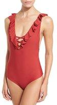Tori Praver Swimwear Victoria Ruffle One-Piece Swimsuit, Milos Floral Red