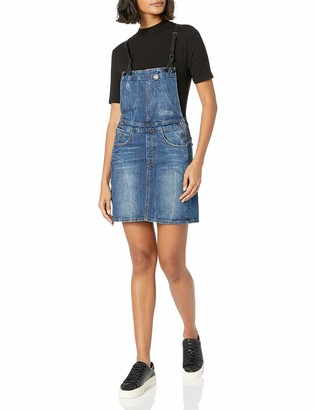 G Star Women's Arc Dungaree Short Dress in Hadron Stretch Denim Medium Aged Antic Small