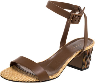Gucci Brown Leather Dahlia Ankle Strap Sandals Size 37