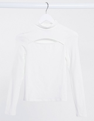 New Look high neck top with cut out in white