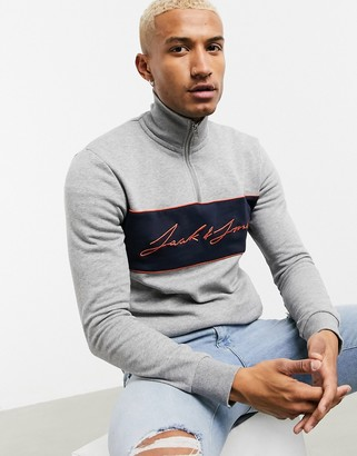 Jack and Jones Originals quarter zip sweat with originals logo in gray