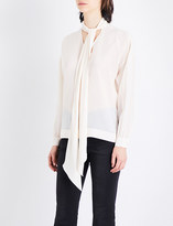 Mo&Co. Tie-neck silk-crepe blouse