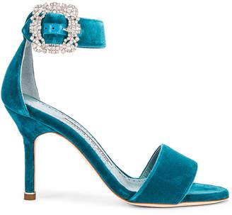 Manolo Blahnik Sanghal 90 Velvet Sandal in Turquoise | FWRD