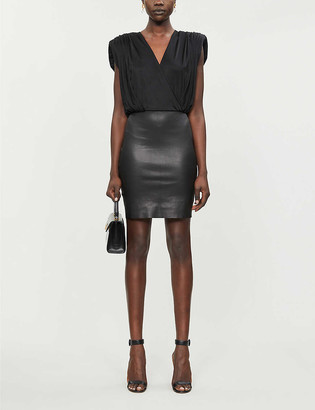 Jitrois Elia V-neck satin-jersey and leather mini dress