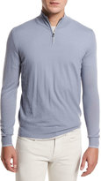 Loro Piana Super Light Cashmere Half-Zip Sweater, Stone Jeans