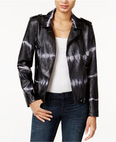 Bar III Tie-Dyed Faux-Leather Moto Jacket, Only at Macy's