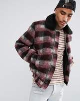 Asos Checked Bomber With Fleece Collar In Red