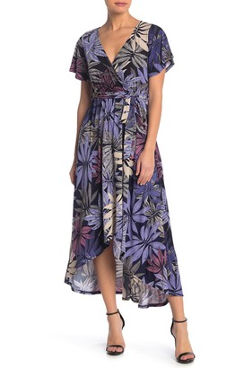 WEST KEI Palm Print Flutter Sleeve High/Low Maxi Dress (Petite)