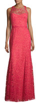 Marchesa Sleeveless Beaded Lace Illusion Gown, Sienna