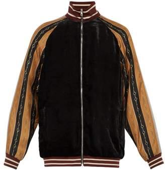 Gucci Contrast Sleeve Velvet Bomber Jacket - Mens - Black Multi