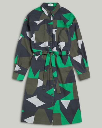 Closed Shirt Dress with Graphic Print - XS .