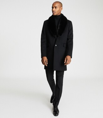 Reiss Lloyd - Faux Fur Shawl Collar Coat in Black
