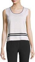 Ming Wang Scoop-Neck Contrast-Trim Knit Tank, White/Black/Cream