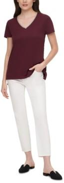 DKNY Embellished V-Neck Cotton T-Shirt