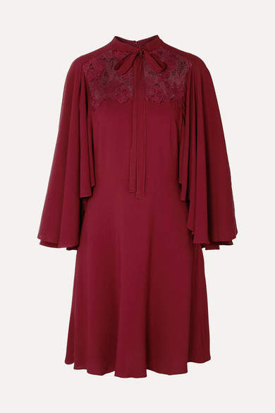 Giambattista Valli Cape-effect Lace-paneled Crepe Dress - Burgundy