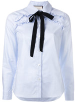 Gucci striped neck tie shirt - women - Cotton - 42
