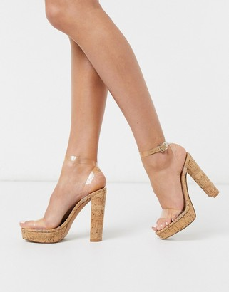 ASOS DESIGN Nutshell clear platform barely there heeled sandals in cork
