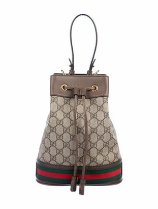 Gucci 2020 GG Supreme Ophidia Small Bucket Bag Gold