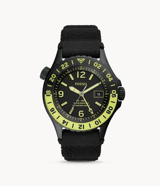 Fossil Limited Edition Fb-Gmt Dual-Time Black Silicone Watch