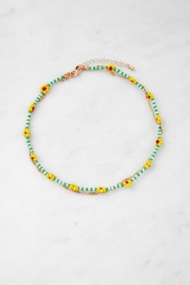Urban Outfitters Floral Bead & Chain Multilayer Necklace - Gold ALL at