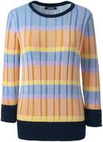 Lands'end Women's Tall Supima Cotton 3/4 Sleeve Stripe Sweater