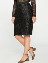 ELOQUII Plus Size Embroidered Sequin Pencil Skirt