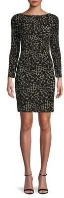 Vince Camuto Metallic Knit Long-Sleeve Sheath Dress