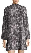 Laundry by Shelli Segal Snakeskin-Print Mock-Neck Dress