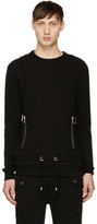 Balmain Black Drawstring Sweatshirt