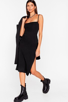 Nasty Gal Womens Square's No Going Back Slit Midi Dress - Black - 4