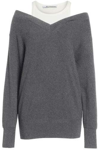 Alexander Wang Bi-Layer Off-the-Shoulder Sweater with Inner Tank