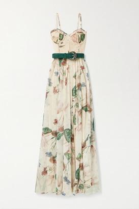 PatBO Sophia Belted Lace-paneled Floral-print Chiffon Maxi Dress - Multi